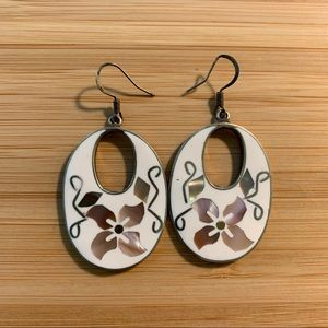 Oval Floral Statement Earrings